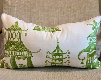 Green and Ivory Oriental Pagoda Pillow Covers / Designer Ming Pagoda Mineral / Handmade Custom Home Decor Accent Pillows