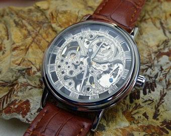 Silvertone Mechanical Wrist Watch, Brown Leather Wristband, Steampunk, 38mm case, Groomsmen Gift - Engravable Watch - Item MWA067sh