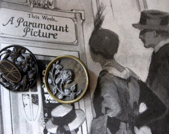 Two Vintage Metal Floral Buttons, Openwork and Stamped Floral on Metal