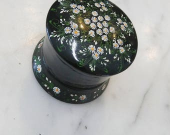 Cute Little Black with White Flowers Floral Jewelry Dish / Trinket Box