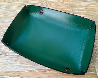 Handmade in UK dark Green bridle leather tray desk tidy with ladybird decoration VARIOUS SIZES