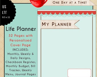 """US Letter """"Life Planner"""" Calendar & Planning Inserts - Living Life - 32 Full Color Pages - Fits BIG Happy Planner"""