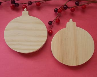 Christmas Ornaments Unfinished DIY Wood Decorations Set of two
