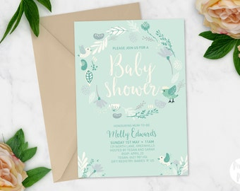 Printable Baby Shower Invitation | Baby Shower Invite | DIY Printable | Berries, Birds and Flowers