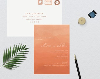 Peach Ombre Watercolor Rehearsal Dinner Invitation // 5x7 PRINTED SET of 10 Cards + Envelopes // Rehearsal Dinner