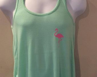 Flowy tank top with flamingo print