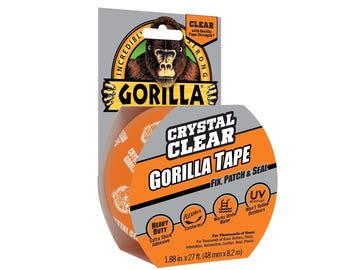 Transparent Duct Tape; 1.8 Inches x 9 Yards, Clear, Strong, Waterproof, Temperature, UV Resistant, Multipurpose Duct Tape, Gorilla
