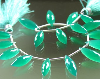 AAA Green Onyx Micro-Faceted Elongated Rice Briolettes