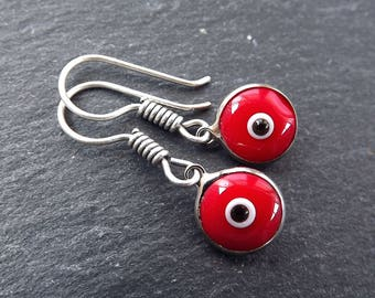Poppy Red Evil Eye Dangle Earrings Bohemian Boho Style Light Comfortable Daytime Jewelry Authentic Turkish Style FREE SHIPPING