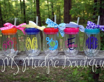Bev2Go Tumbler, Personalized Stemless Wineglass with Lid, Monogrammed Stemless Wineglass