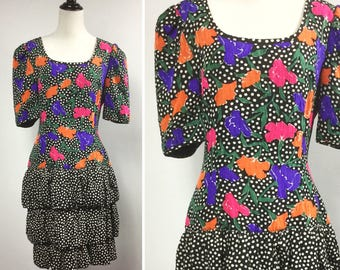 Floral Print Dress, Black and White Polka Dots, Flowers in Fuchsia Pink, Orange, Purple, Tiered Bubble Skirt, Puff Sleeves, Vintage 80s Silk
