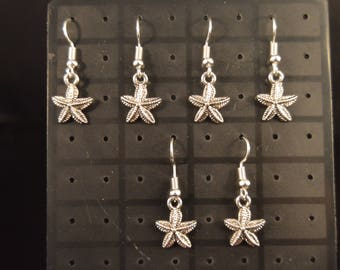 Three Pairs small STARFISH EARRINGS  Fashion Jewelry  Brand New!  fish ocean sea marine maritime luck beauty    silver color