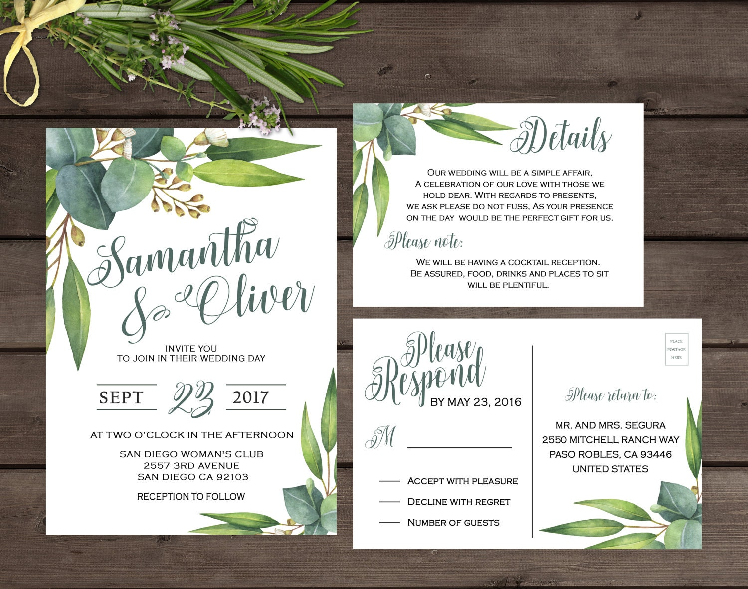 Greenery wedding invitation Eucalyptus wedding invitation