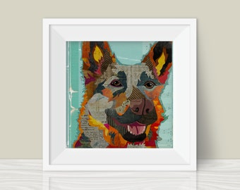 German Shepherd Collage Art Print - A Whimsical and Colorful  12x12in Home & Wall Decor Art Print and Unique Gift for GSD  Lovers