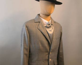 1930's style tailored jacket, vintage style suit, 3 piece suit, glen plaid checked sport coat, Prince of Wales jacket, bespoke tailored suit
