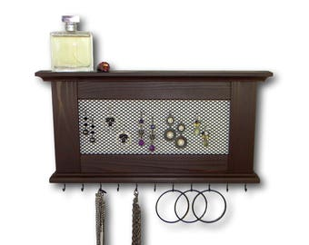 Jewelry Organizer Rustic Necklace Earring Jewelry Hanger Choose Your Color Wall Mount