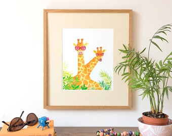 Giraffes in Sunglasses, Giraffe Illustration,