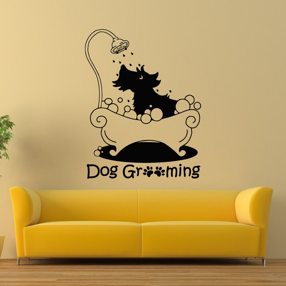 Dog Grooming Wall Decal Pet Grooming Salon Decals Vinyl