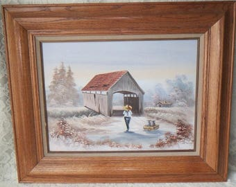 Vintage Original Oil Painting Country Scene with Covered Bridge, Cabin & Young Man, Wood Framed Rustic Decor