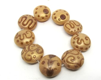 1 Strand Handmade Coin Lampwork Beads in Gold And Brown (B522P5)