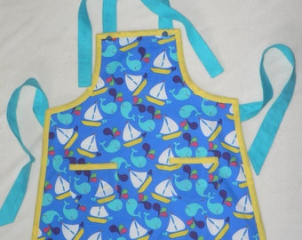 Boys Boat Apron with Pockets Kids in the Kitchen Boys Whales Blue Yellow