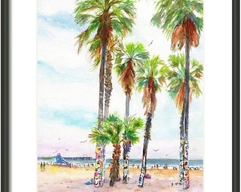 Venice Beach California, Graffiti Palm Trees, 8x10 ORIGINAL watercolor painting, Lifeguard Tower, Beachy, Coastal, Beach house Wall art