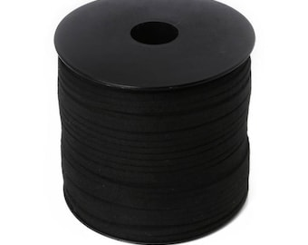 2 m black cord Faux suede 3mm, suede, leather suede cord