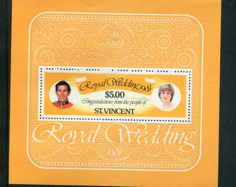Lady Diana Royal Wedding Souvenir Sheet /Unused Issued  in St Vincent