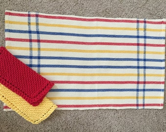 Handwoven Dishtowel and two knitted  Dishcloths