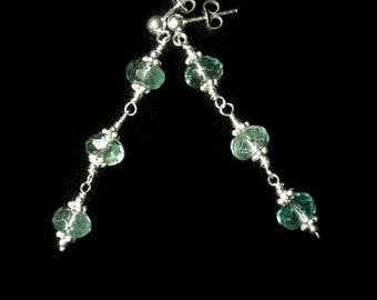 Mint Green Earrings Green Gemstone Earrings Fluorite Earrings Green Drop Earrings Sterling Silver