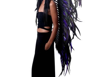 Feathers indian inspired headdress, long length, Black and purple feathers headdress, native american style