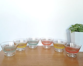 French vintage 6 40-50's champagne glasses, granite glass and gold/french vintage set of cups of the 40-50's 6champagne