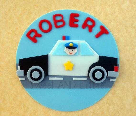 Police Car Custom Edible Cake Topper