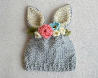 6 to 12 Month Bunny Flower Crown Hat - 6-12 Month Easter Hat- Flower Hat  - Bunny Hat - Ready to Ship