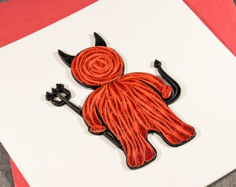 3D Handmade Halloween Card Blank Quilled Devil Quilling Halloween Card