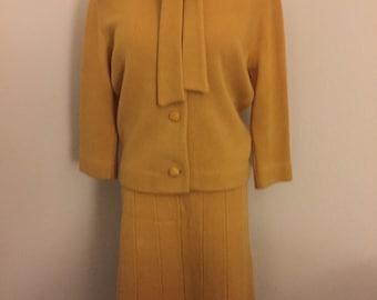 Vintage Gold Wool Knit Suit