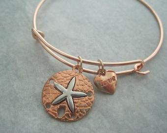 Sanddollar Charm Bracelet Rose Gold Nautical Love Heart Bangle