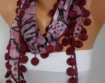 Burgundy Leopard Cotton Scarf Zebra Scarf Graduation Gift Shawl Scarf  Gift Ideas For Her Women Fashion Accessories best selling item