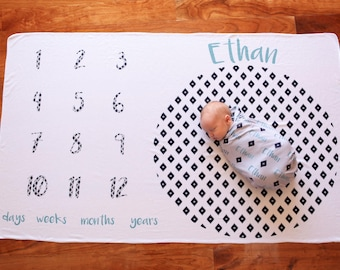 Personalized Memory Blanket - Aztec Diamond – Personalized Memory Blanket / Baby Name Blanket