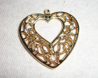 gold and crystal heart pendant