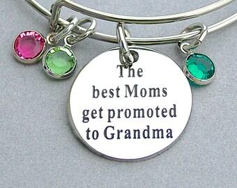 "Stainless Steel "" The Best Moms Get Promoted To Grandma "", Family Birthstone Bracelet, Swarovski Birthstones, Mother's Day, Gift for Grandma"