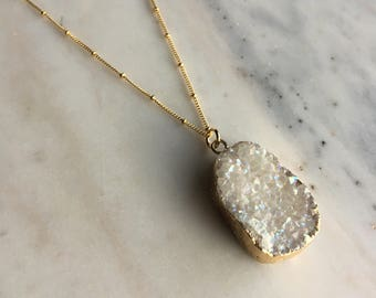 Druzy pendant with personalized brass bar on satellite chain, modern personalized jewelry