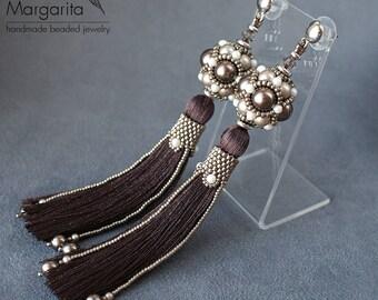 "Tassel earrings, long swarovski pearl earrings, beaded earrings, beadwork earrings, beadwoven earrings, bead weaving earrings ""Chocolate"""