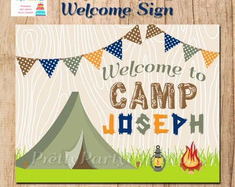 BOY CAMPING welcome sign - YOU Print