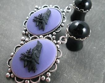 "Raven Dangle Plugs - 00g 10mm - 1/2"" 12mm - Gothic Wedding Gauges - Plug Earrings - Dangle Gauges - Wedding Plugs - Raven Jewelry"