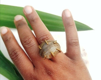 Wire wrapped bohemian ring/large statement cocktail ring//festival tribal ring//festival jewelry//beach stone ring//adjustable ring//