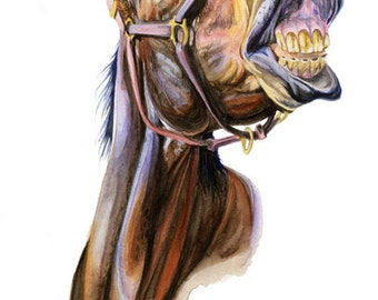 Laughing Bay Horse Art Print of Watercolor Painting Equine Western Country Decor