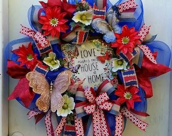 Beautiful Home Wreath Love makes our house a home gift housewarming wreath everyday home wreath home decor.