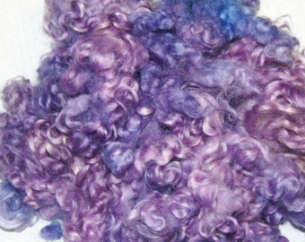 Hand Dyed Cotswold Wool Locks, Locks for Spinning, Felting Fiber, Wool Doll Hair in Shades of Lilac and Periwinkle dark to light 1 oz.