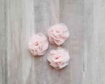 "2"" Tulle Flower, Baby Pink Flower, Ballerina flower, fabric flower, Pink flower, DIY supplies, Headband flower, Flower Puff, mesh flower"